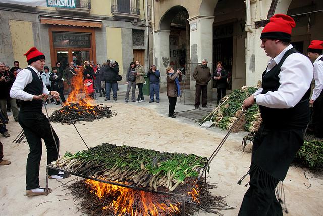 roasting calçots