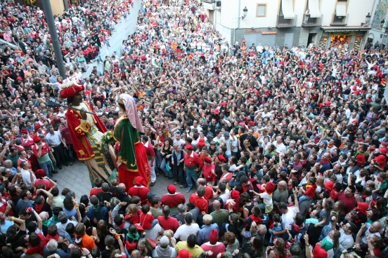 "Dancing giants - ""gegants"" are a popular part of a typical Catalan fiesta."